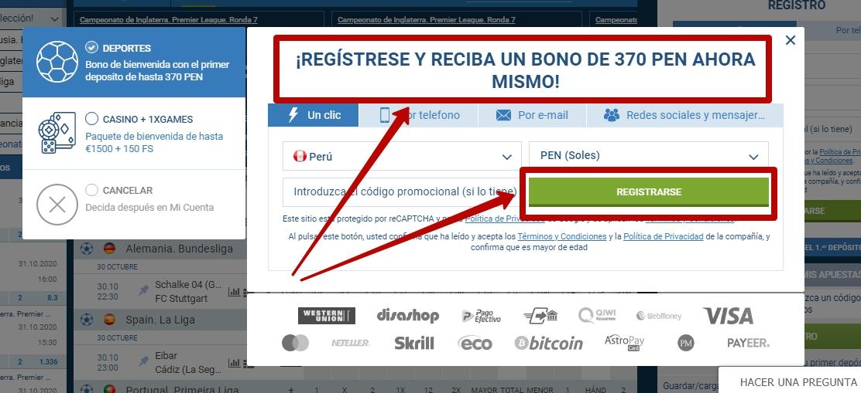 1xBet register en Perú
